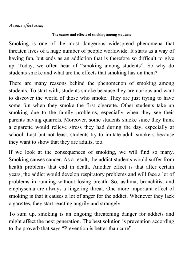 Smoking: Essay on Causes and Effects of Smoking