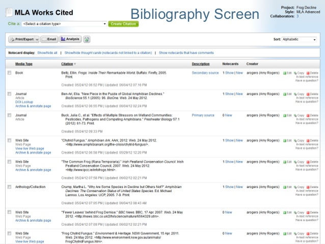 Creating bibliography