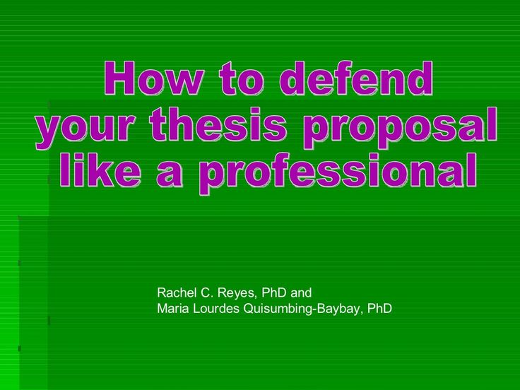 Dissertation proposal oral defense