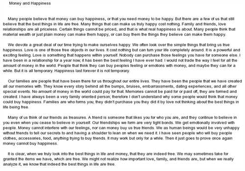 Money Can't Buy Happiness Free Essay Example