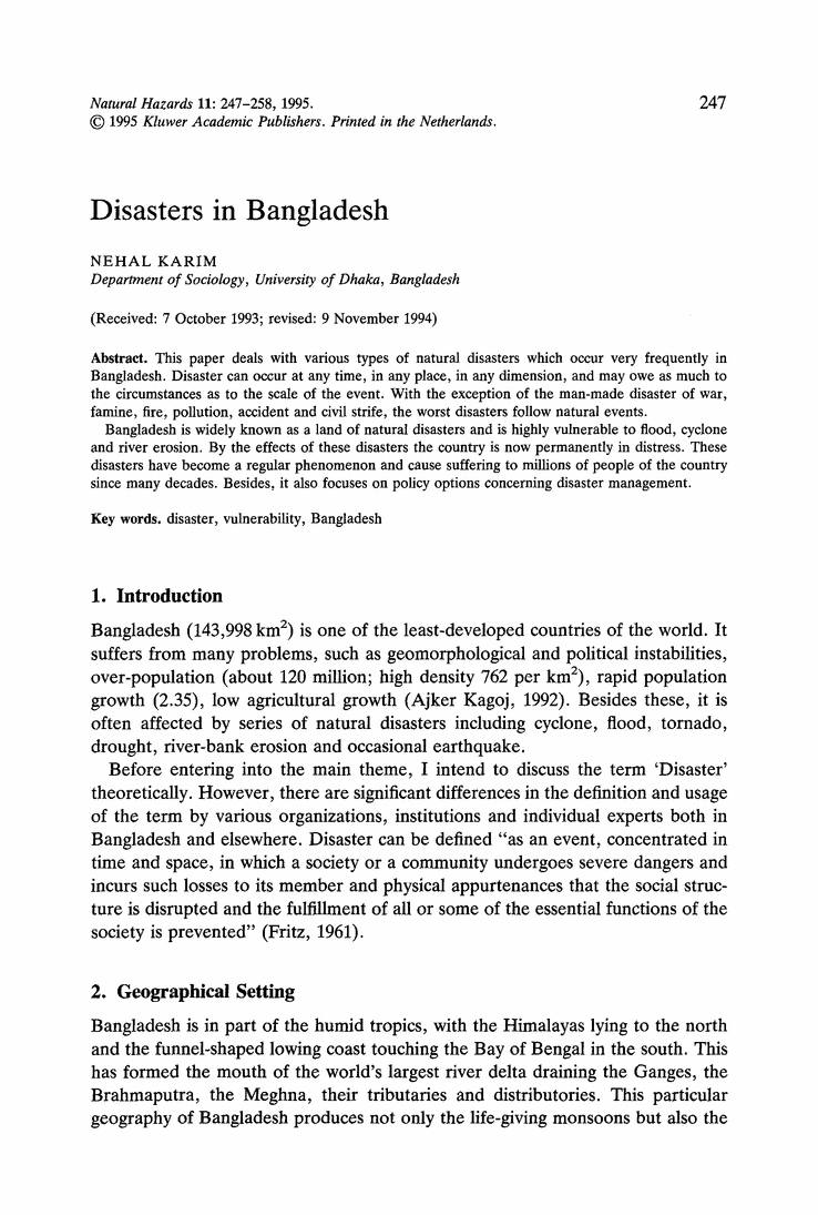 Essay natural disaster flood