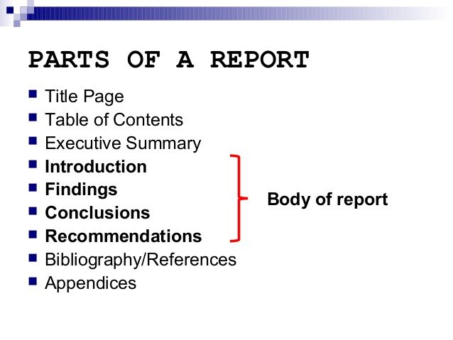 Outline for report writing