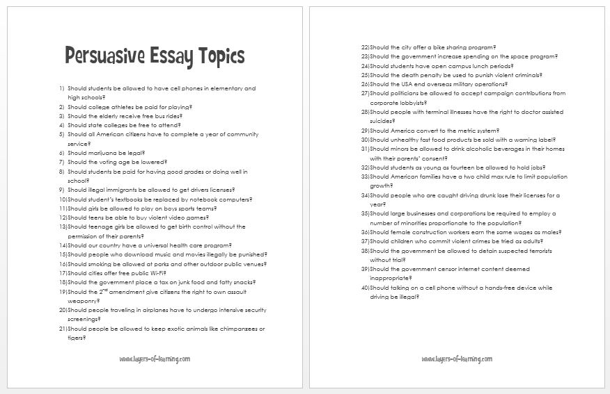 easy topics for a persuasive essay co easy