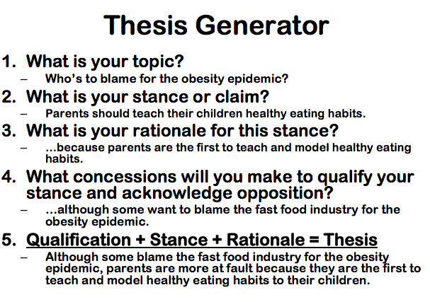 In philosophy papers, your thesis will state a position or claim.